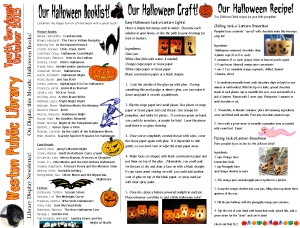 monthly newsletter Oct 13 Halloween