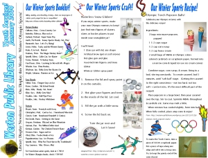 monthly newsletter jan 14 winter sports